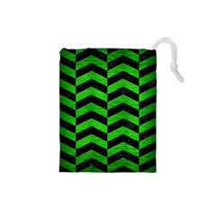 Chevron2 Black Marble & Green Brushed Metal Drawstring Pouches (small)