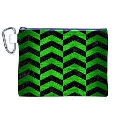 Chevron2 Black Marble & Green Brushed Metal Canvas Cosmetic Bag (xl)