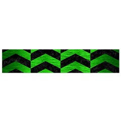 Chevron2 Black Marble & Green Brushed Metal Flano Scarf (small)