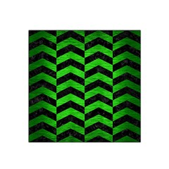 Chevron2 Black Marble & Green Brushed Metal Satin Bandana Scarf