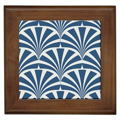 Teal,white,art Deco,pattern Framed Tiles