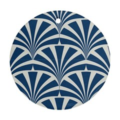 Teal,white,art Deco,pattern Ornament (round)