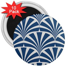 Teal,white,art Deco,pattern 3  Magnets (10 Pack)