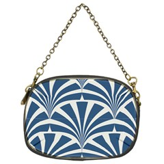 Teal,white,art Deco,pattern Chain Purses (two Sides)