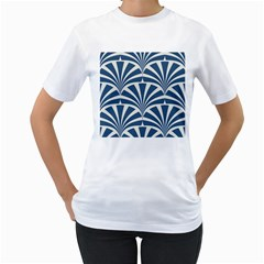 Teal,white,art Deco,pattern Women s T Shirt (white)