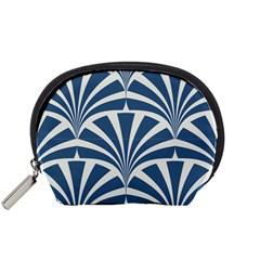 Teal,white,art Deco,pattern Accessory Pouches (small)