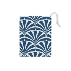 Teal,white,art Deco,pattern Drawstring Pouches (small)