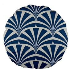 Teal,white,art Deco,pattern Large 18  Premium Flano Round Cushions
