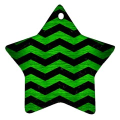 Chevron3 Black Marble & Green Brushed Metal Ornament (star)