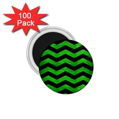 Chevron3 Black Marble & Green Brushed Metal 1 75  Magnets (100 Pack)