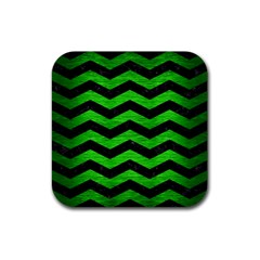 Chevron3 Black Marble & Green Brushed Metal Rubber Coaster (square)
