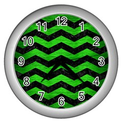 Chevron3 Black Marble & Green Brushed Metal Wall Clocks (silver)