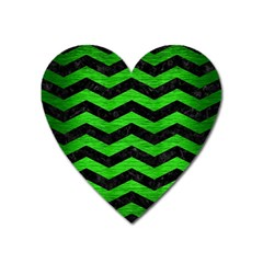 Chevron3 Black Marble & Green Brushed Metal Heart Magnet