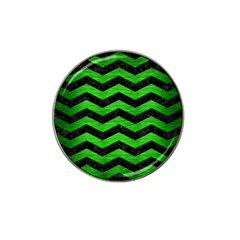 Chevron3 Black Marble & Green Brushed Metal Hat Clip Ball Marker (4 Pack)