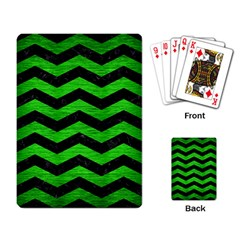 Chevron3 Black Marble & Green Brushed Metal Playing Card