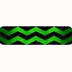 Chevron3 Black Marble & Green Brushed Metal Large Bar Mats