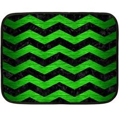 Chevron3 Black Marble & Green Brushed Metal Double Sided Fleece Blanket (mini)
