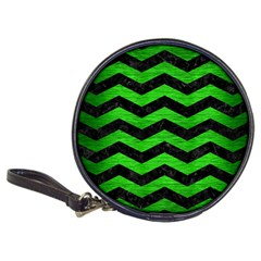 Chevron3 Black Marble & Green Brushed Metal Classic 20 Cd Wallets