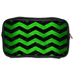 Chevron3 Black Marble & Green Brushed Metal Toiletries Bags