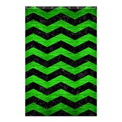 Chevron3 Black Marble & Green Brushed Metal Shower Curtain 48  X 72  (small)
