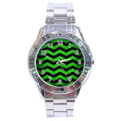 Chevron3 Black Marble & Green Brushed Metal Stainless Steel Analogue Watch
