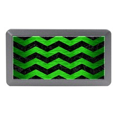 Chevron3 Black Marble & Green Brushed Metal Memory Card Reader (mini)