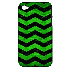 Chevron3 Black Marble & Green Brushed Metal Apple Iphone 4/4s Hardshell Case (pc+silicone)