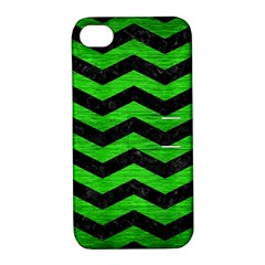 Chevron3 Black Marble & Green Brushed Metal Apple Iphone 4/4s Hardshell Case With Stand