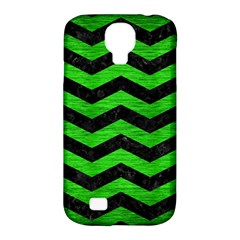 Chevron3 Black Marble & Green Brushed Metal Samsung Galaxy S4 Classic Hardshell Case (pc+silicone)