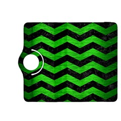 Chevron3 Black Marble & Green Brushed Metal Kindle Fire Hdx 8 9  Flip 360 Case