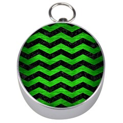 Chevron3 Black Marble & Green Brushed Metal Silver Compasses