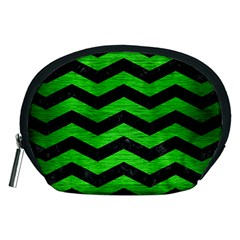 Chevron3 Black Marble & Green Brushed Metal Accessory Pouches (medium)