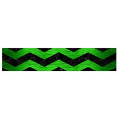 Chevron3 Black Marble & Green Brushed Metal Flano Scarf (small)