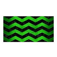 Chevron3 Black Marble & Green Brushed Metal Satin Wrap