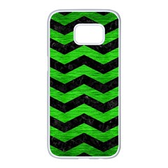Chevron3 Black Marble & Green Brushed Metal Samsung Galaxy S7 Edge White Seamless Case