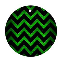 Chevron9 Black Marble & Green Brushed Metal Ornament (round)