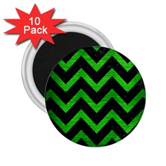 Chevron9 Black Marble & Green Brushed Metal 2 25  Magnets (10 Pack)