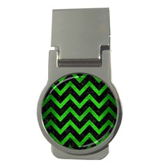 Chevron9 Black Marble & Green Brushed Metal Money Clips (round)