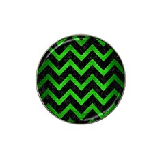 Chevron9 Black Marble & Green Brushed Metal Hat Clip Ball Marker (10 Pack)