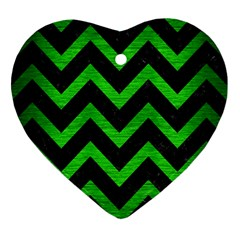 Chevron9 Black Marble & Green Brushed Metal Heart Ornament (two Sides)