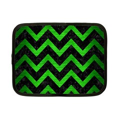 Chevron9 Black Marble & Green Brushed Metal Netbook Case (small)