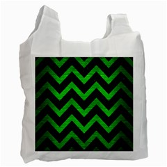 Chevron9 Black Marble & Green Brushed Metal Recycle Bag (two Side)
