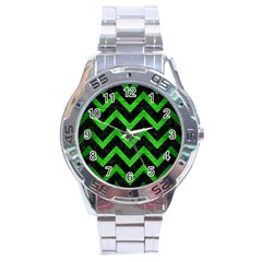Chevron9 Black Marble & Green Brushed Metal Stainless Steel Analogue Watch