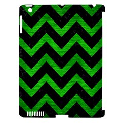 Chevron9 Black Marble & Green Brushed Metal Apple Ipad 3/4 Hardshell Case (compatible With Smart Cover)