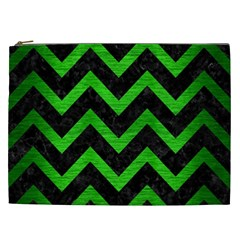 Chevron9 Black Marble & Green Brushed Metal Cosmetic Bag (xxl)