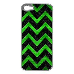 Chevron9 Black Marble & Green Brushed Metal Apple Iphone 5 Case (silver)