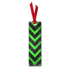 Chevron9 Black Marble & Green Brushed Metal Small Book Marks