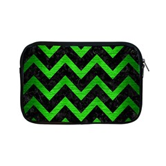 Chevron9 Black Marble & Green Brushed Metal Apple Ipad Mini Zipper Cases