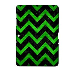 Chevron9 Black Marble & Green Brushed Metal Samsung Galaxy Tab 2 (10 1 ) P5100 Hardshell Case