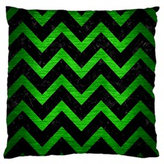 Chevron9 Black Marble & Green Brushed Metal Large Flano Cushion Case (one Side)